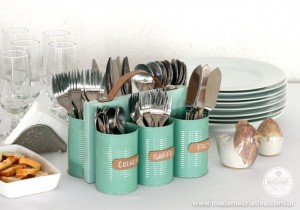 DIY Cutlery Holder Made Of Tin Cans