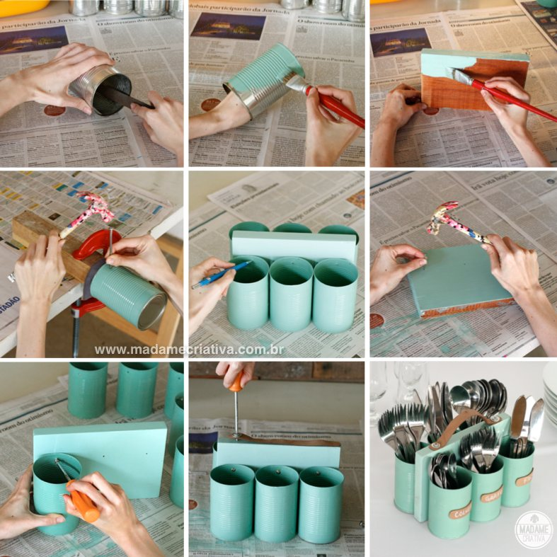 DIY: How To Make Cutlery Holder Made Of Tin Cans