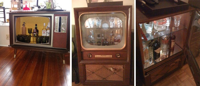 Upcycled DIY Idea Vintage TV Bar 2