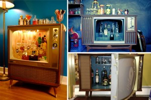 Upcycled DIY Idea Vintage TV Bar