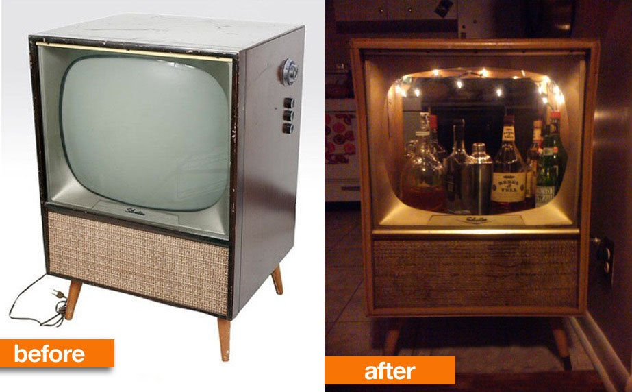 Upcycled DIY Idea Vintage TV Bar 5