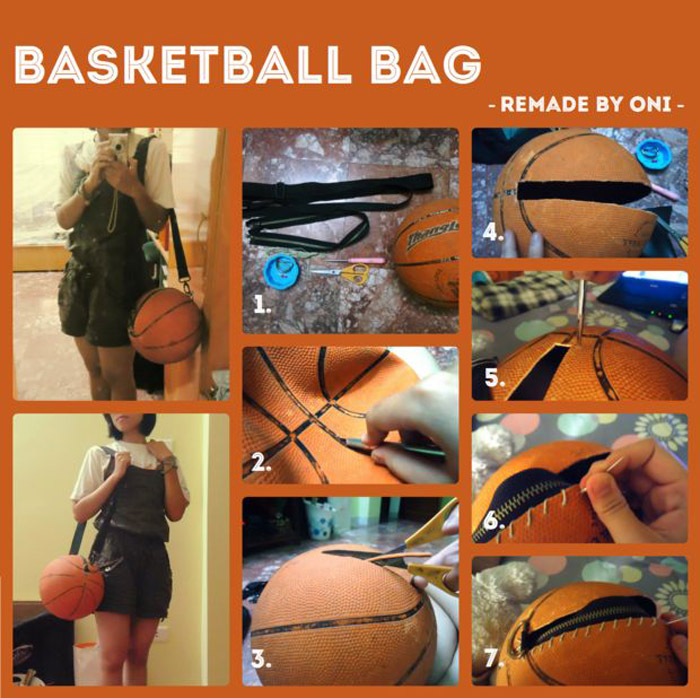 diy bag made of basketball ball