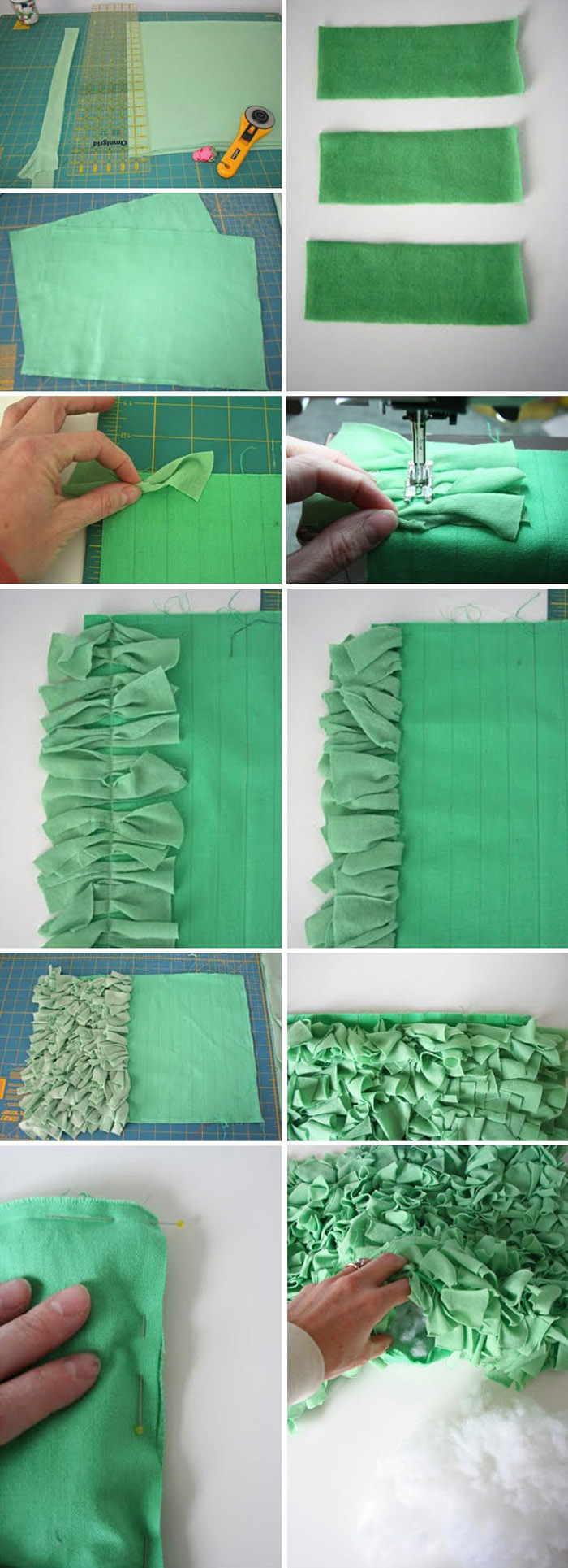 t-shirt shag pillow diy tutorial