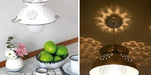 Enameled Colander Pendant Lamp